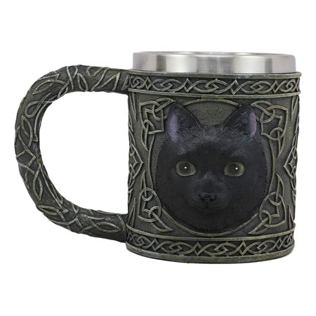 Ebros Gift Celtic Mystical Black Cat Witching Hour Resin 16oz Drinking Mug With Stainless Steel Rim Figurine For Coffee Tea Cereal Drinks Halloween Kitchen Dining Decor Of Cats Felines Kitty Kittens - Black Drinks For Halloween