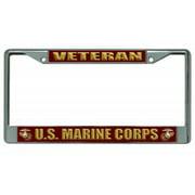 U.S. Marine Corps Veteran Chrome License Plate Frame
