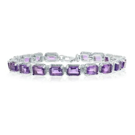 (Sterling Silver Italian Amethyst Octagon Gemstone 7X5mm Linked Bracelet)