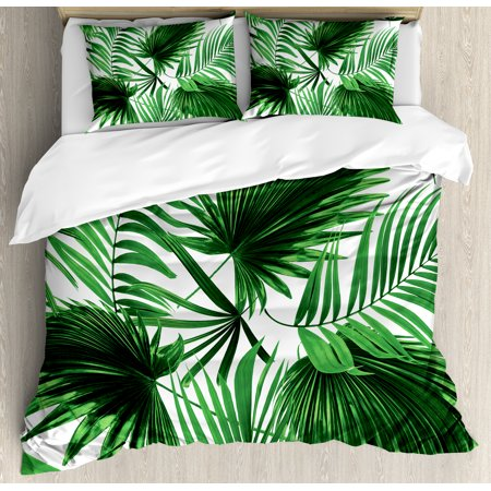Palm Leaf Queen Size Duvet Cover Set, Realistic Vivid Leaves of Palm Tree Growth Ecology Lush Botany Themed Print, Decorative 3 Piece Bedding Set with 2 Pillow Shams, Fern Green White, by Ambesonne