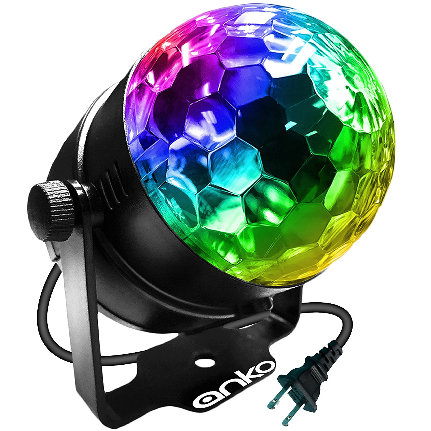 ANKO Mini LED Stage Magic Light, 7 Color Changes Sound Active RGB Mini LED Rotating Magic Ball Lights For KTV, Party,... by