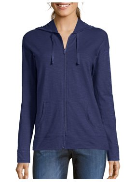 3a32ed64 Product Image Hanes Women's Slub Jersey Cotton Full Zip Hoodie