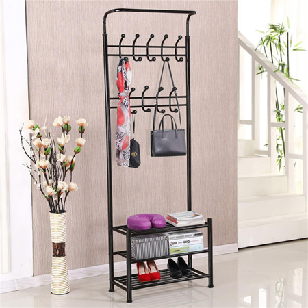 Clothes Tree Kids Furniture (Yaheetech Clothes Coat Stand, Shoes Rack Umbrella Stand, Entry Storage, Max Load Capicity Up to 148.8lbs,   Black )
