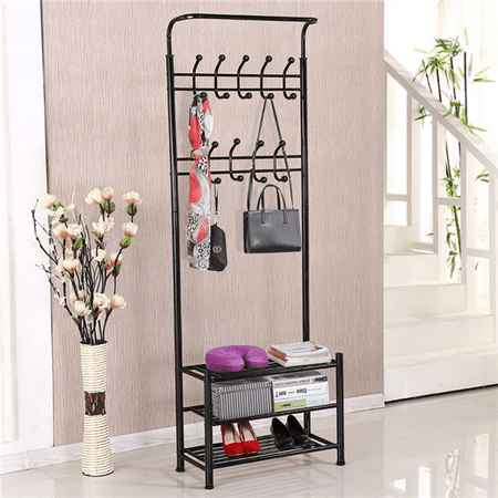 Yaheetech Clothes Coat Stand, Shoes Rack Umbrella Stand, Entry Storage, Max Load Capicity Up to 148.8lbs,   Black ()