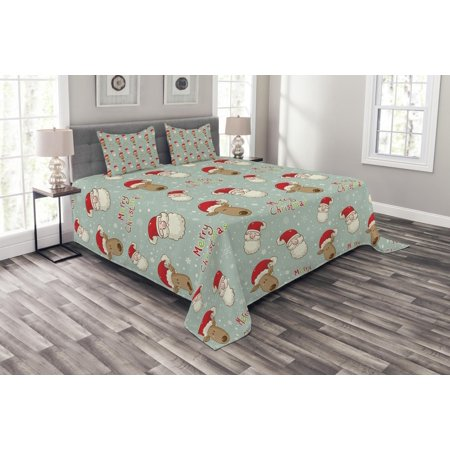 Christmas Bedspread Set, Santa Claus and His Deer Celebrating Your Holiday Vintage Cartoon on Snowflakes, Decorative Quilted Coverlet Set with Pillow Shams Included, Multicolor, by Ambesonne ()