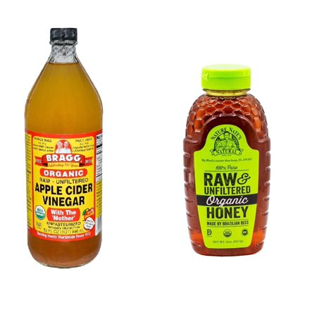 Healthy Organic Variety Pack: Bragg's Apple Cider Vinegar Organic Raw Unfiltered, 32 Oz + Nature's Nate Organic Honey, 16