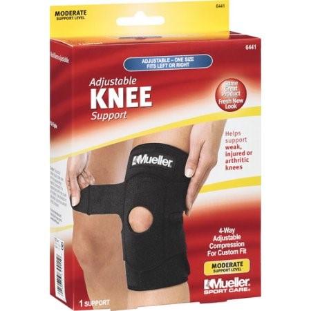 Mueller Sport Care Adjustable Knee Moderate Support, One Size, Black, Model 6441