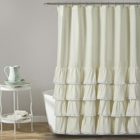Ella Lace Ruffle Shower Curtain 72x72 ()