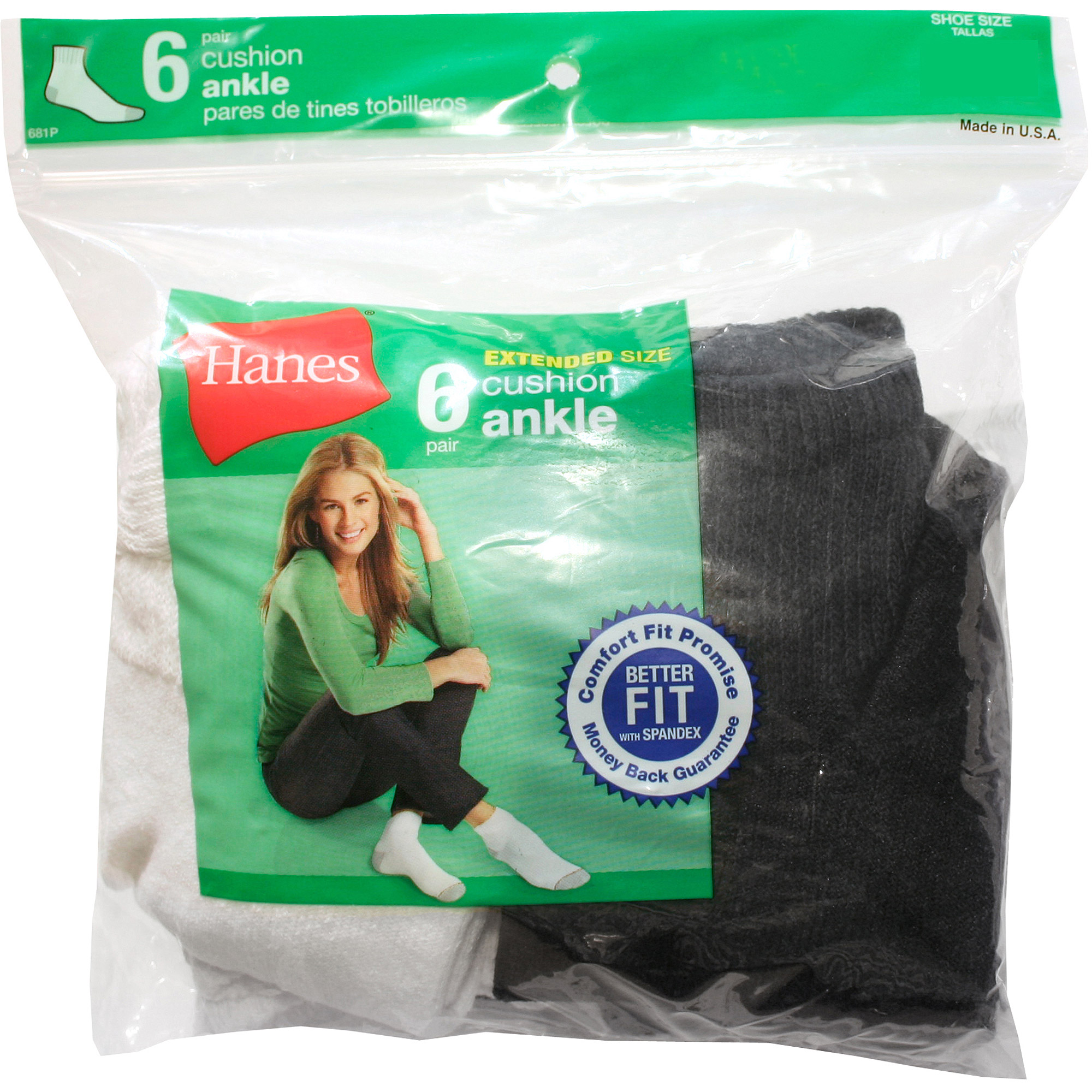 Hanes - Women's Basic Cushion Ankle Athletic Socks, 6 Pairs