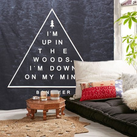 - Meigar Black Woods and Slogans Inside the Triangle Wall Art Hanging Tapestry Bedding Bedspread Bed Cover Wall Art Decor