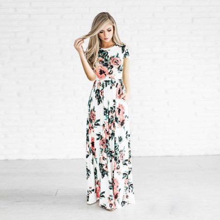 f7343816e0 Phoebecat - Boho Beach Dresses for Women, Casual Short Sleeve Dress for  women, Floral Long Maxi Dress with multi-color, Womens' Beach Sundress Size  S ...