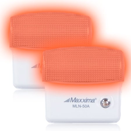 Maxxima Amber LED Night Light With Dusk to Dawn Sensor (Pack of 2) (Yellow Dawn Spray)
