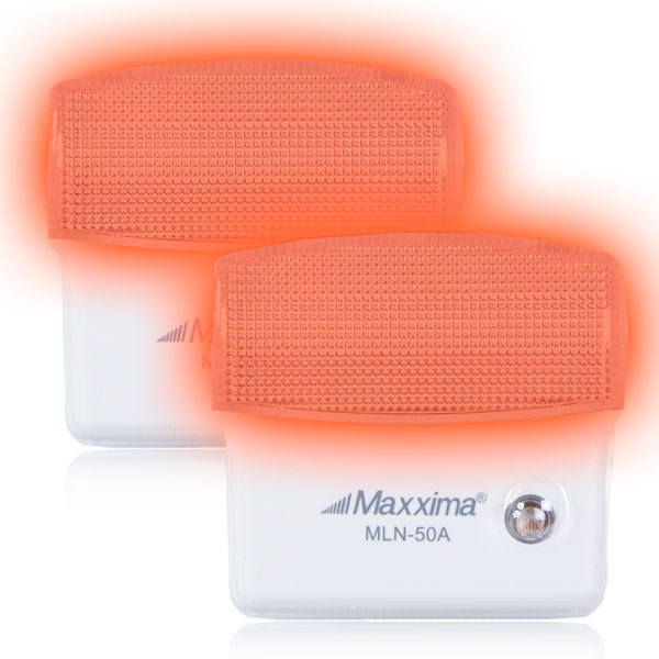 Maxxima Amber LED Night Light With Dusk to Dawn Sensor (Pack of 2)