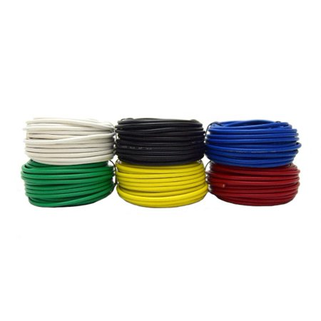 Stranded Ultra Flexible Single Conductor (14 GA Single Conductor Stranded Remote Wire 12V 6 Rolls 25 Feet Each 150' Total)
