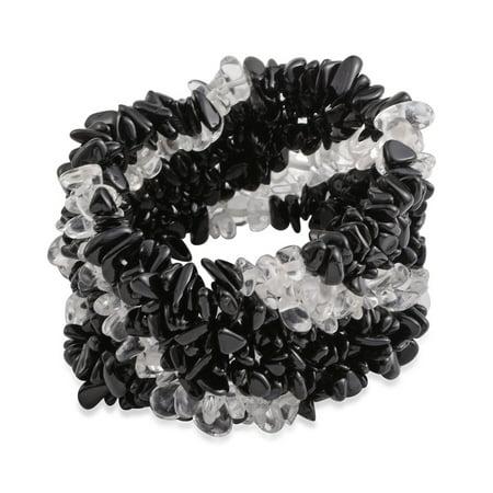 Black Tourmaline Crystal Quartz Chips Widen Bracelet Stretchy Healing Energy/Psychic Protection Reiki Ct 457 (Stretchable) Black Gold Opal Bracelets