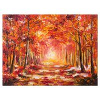 Design Art Autumn Forest Shade Landscape Painting Print on Wrapped Canvas