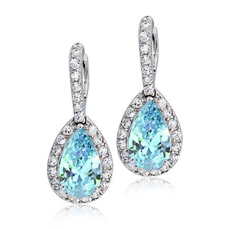 5CTW Teardrop Pave Pear Shape Halo Cubic Zirconia Drop Huggie Earrings CZ Rhodium Plated Brass (More Colors Avilable)