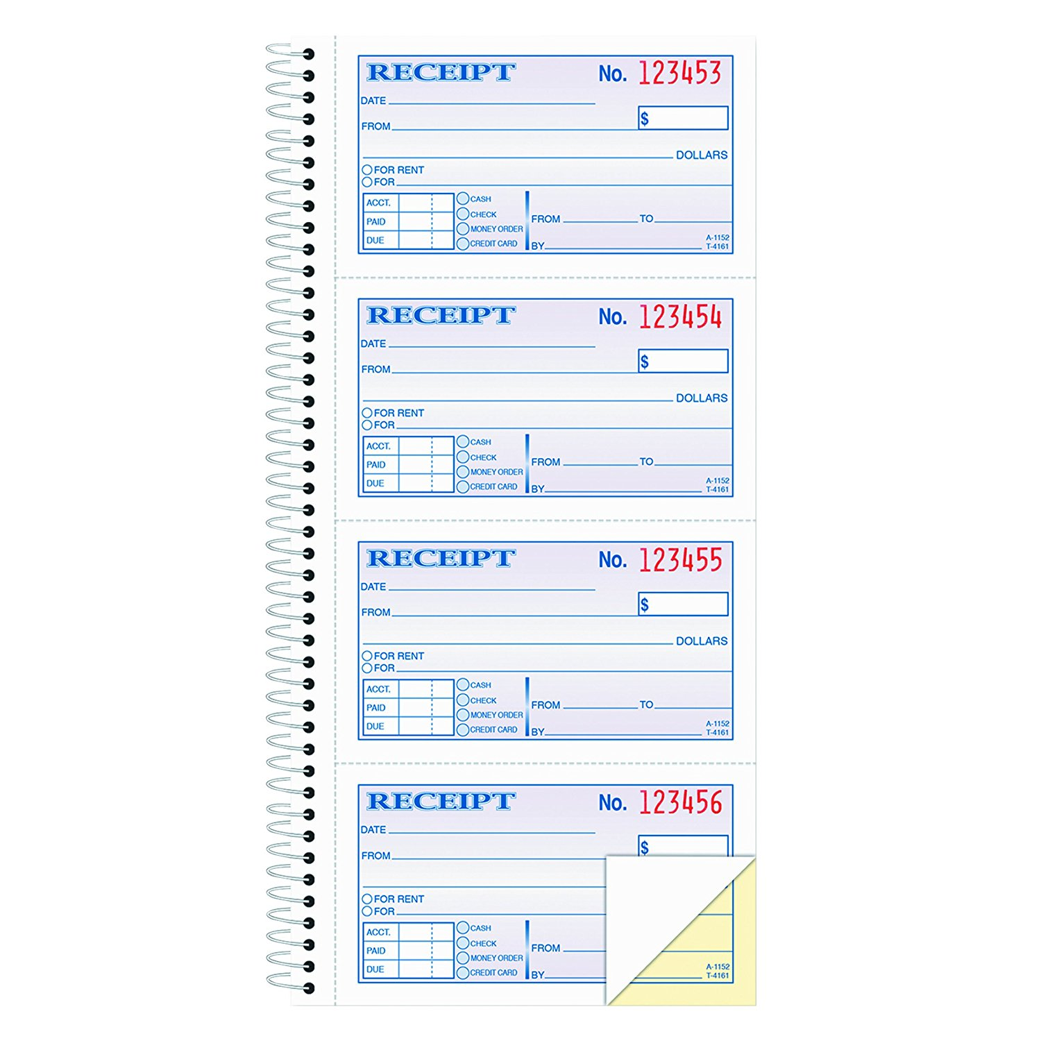 Money and Rent Receipt Book, 2-Part Carbonless, 5 1/4 x 11 Inch Detached, Spiral Bound, 200 Sets per Book (SC1152), Use for rent payments or any other.., By Adams