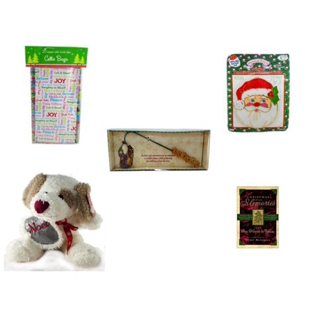 Christmas Fun Gift Bundle [5 Piece] - 2-Pk  Sayings Cello Bags 20 Count - Jumbo  Suncatcher Santa - Debbie Mumm Button Santa Candle Snuffer - Cuddly Friends Noel Puppy  10