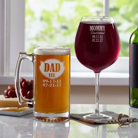 - Personalized We're Established Glassware Set, 2 Wine Glasses