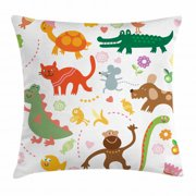Boy's Throw Pillow Cushion Cover, Jolly Cartoon Animals Colorful Flowers and Hearts for Cheerful Babies and Children, Decorative Square Accent Pillow Case, 16 X 16 Inches, Multicolor, by Ambesonne