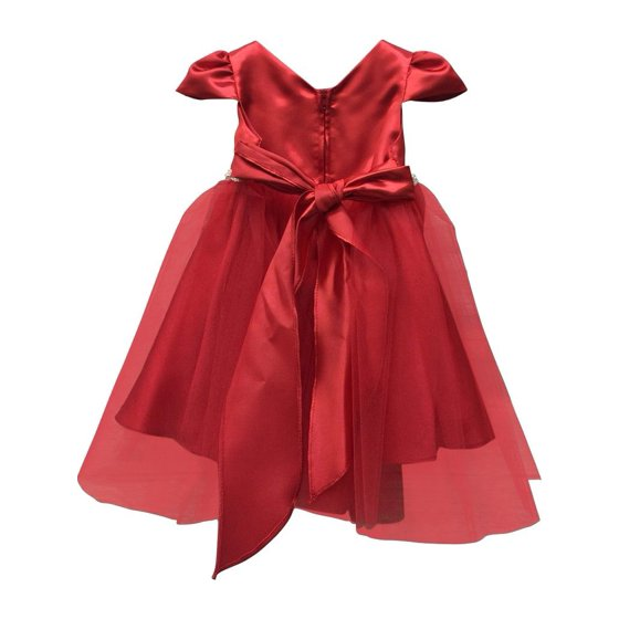 Precious Kids Baby Girls Red Rhinestone Belt Cap Sleeve