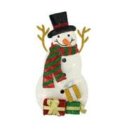 Northlight Seasonal Plush Tinsel Snowman with Gift Christmas Decoration