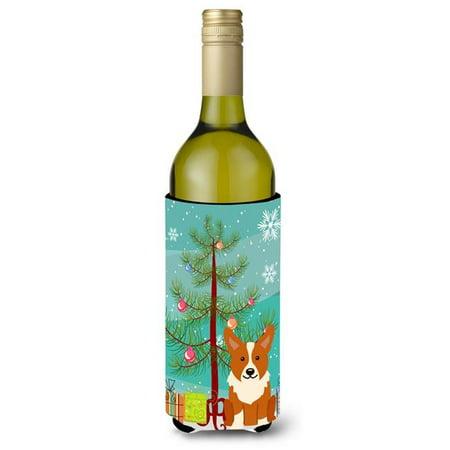 Merry Christmas Tree Corgi Wine Bottle Beverge Insulator Hugger - image 1 de 1