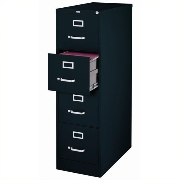 2500 Series 25-inch Deep 4-Drawer, Letter-Size Vertical File Cabinet, Black
