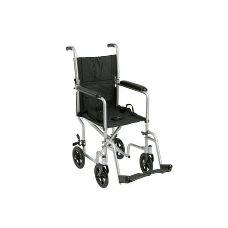 "Drive Medical Lightweight Transport Wheelchair, 17"" Seat, Silver"
