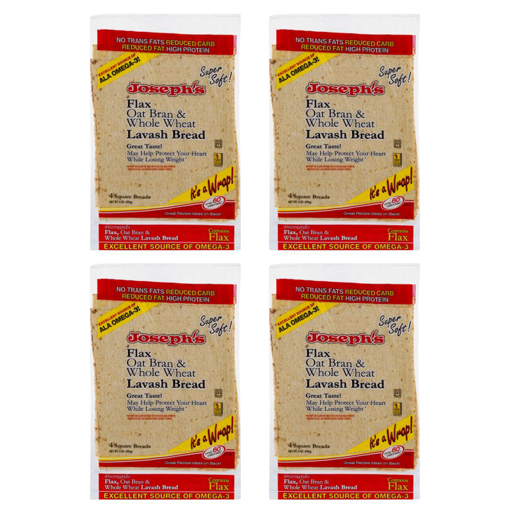 Joseph's Bakery Lavash Bread Flax Oat Bran & Whole Wheat Reduced Carb (4 Pack)