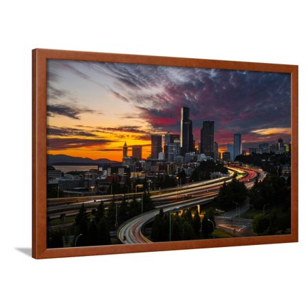Washington, Seattle. Sunset View of Downtown over I-5 from the Jose Rizal Bridge Framed Print Wall Art By Gary (Distance From San Jose To Seattle Washington)