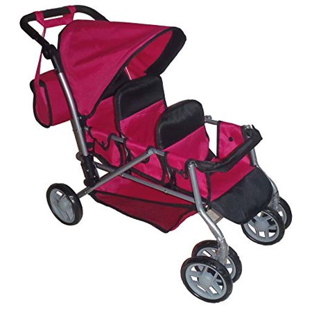 Mommy & Me TRIPLET Doll Pram Back to Back with Swiveling Wheels & Free carriage Bag - 9668A - image 2 of 2