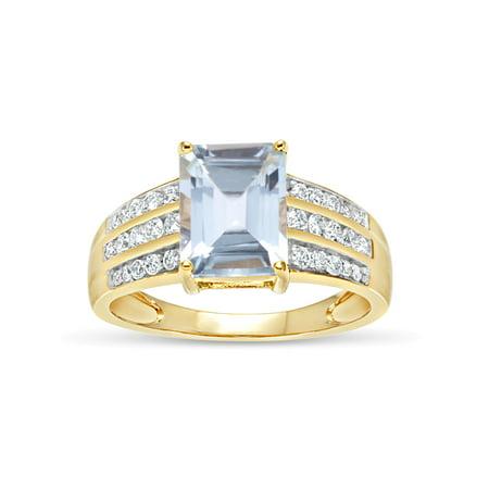 (Emerald Cut Aqua Blue Topaz and Round White Topaz Swarovski Genuine Gemstone 18kt Gold Over Sterling Silver Ring)