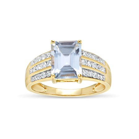 Emerald Cut Aqua Blue Topaz and Round White Topaz Swarovski Genuine Gemstone 18kt Gold Over Sterling Silver Ring