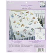 Stamped Cross Stitch Baby Quilt Top, 34 by 43-Inch, 43241 Alphabet Dreams By Bucilla Ship from US
