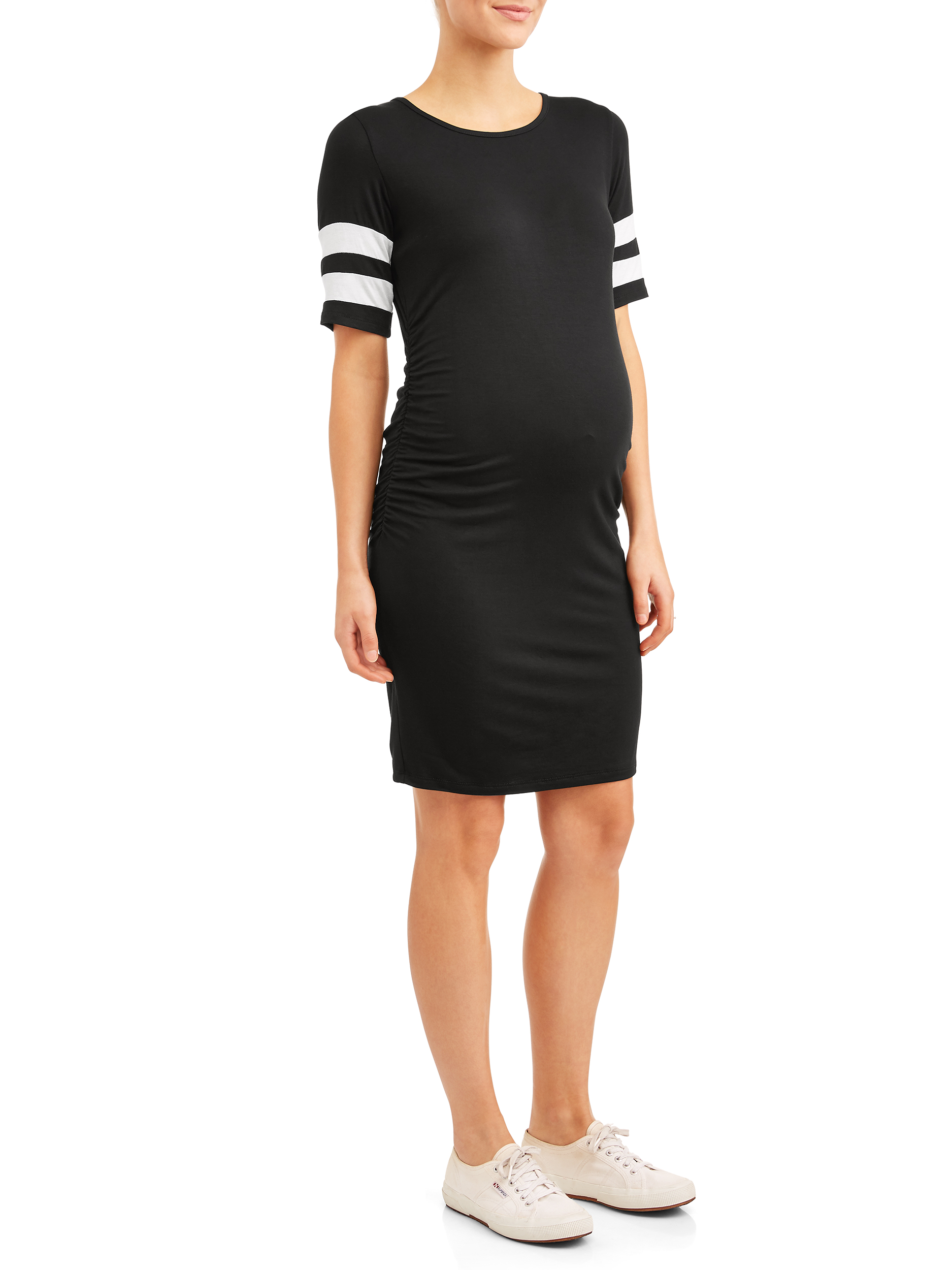 Materntiy Striped Sleeve Body Con Midi Dress