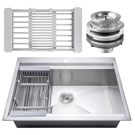 "Image of AKDY 30"" x 22"" x 9"" Stainless Steel Top Mount Kitchen Sink 18 Gauge Single Basin w/ Tray Strainer Kit"