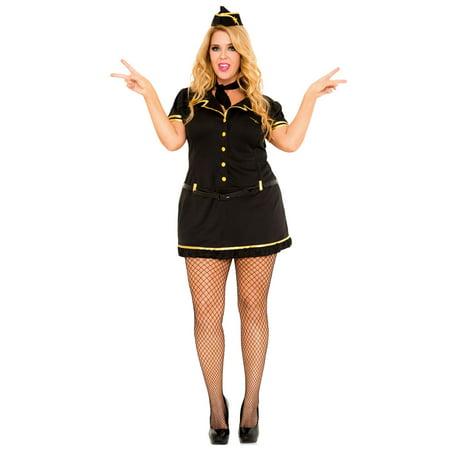 Adult Mile High Club Stewardess Plus Size Sexy Costume - Size 1X-2X
