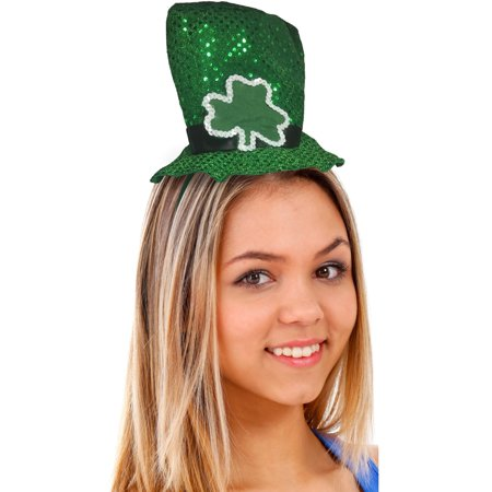 - Green St. Patrick's Day Shamrock Sequin Mini Top Hat On Head Band