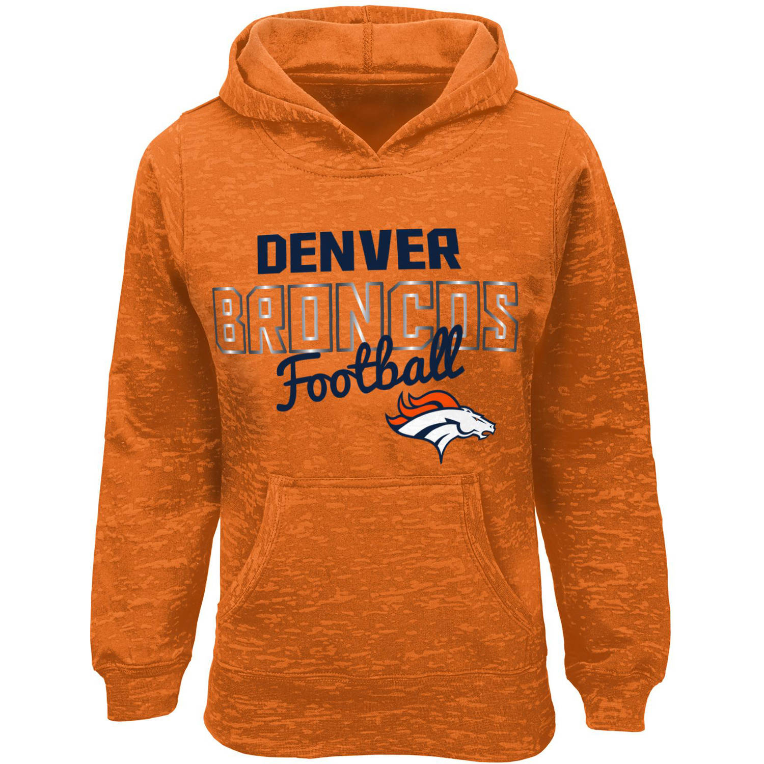 NFL Girls Broncos Burnout Team Hooded Fleece