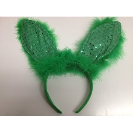 Light Up, Green, Feather/sequin Bunny Ears - One Size Fits Most, FLASHING  LIGHT UP BUNNY EARS By Flashing Panda
