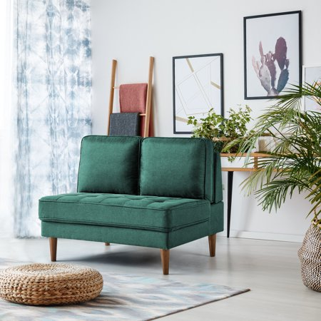 Zinus Christine Armless Loveseat, Forest Green