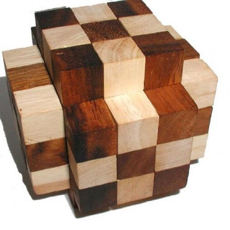 Hercules Cube Wood Brain Teaser Puzzle -2-Tone by