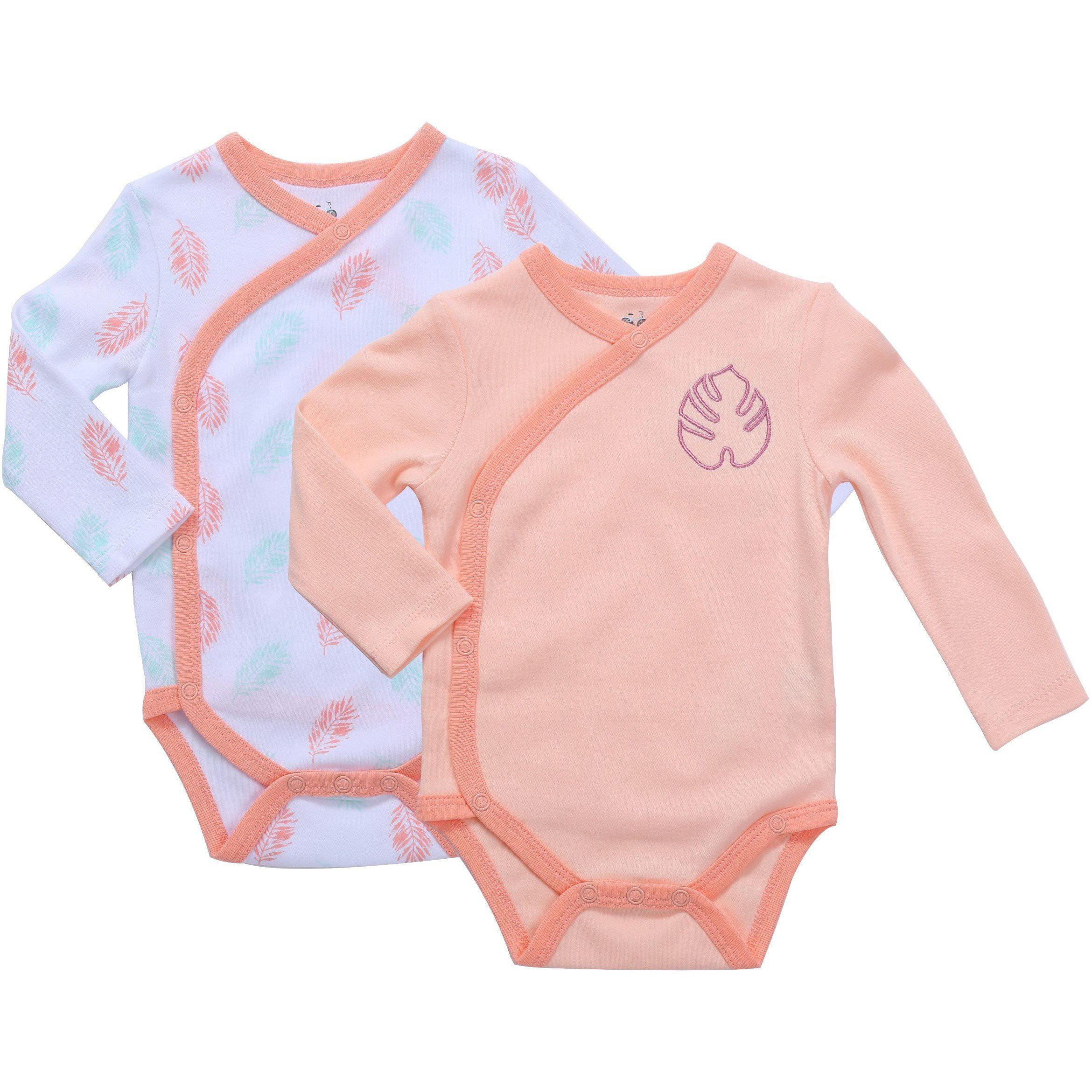 Asher and Olivia Baby Girls 3-Piece Long-Sleeve Kimono Bodysuit Set