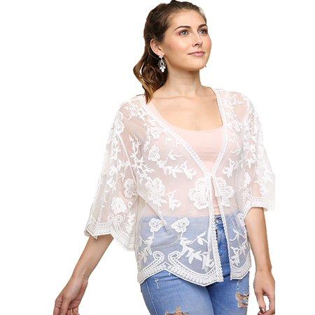 Mesh Kimono - White Sheer Floral Embroidered Mesh Kimono