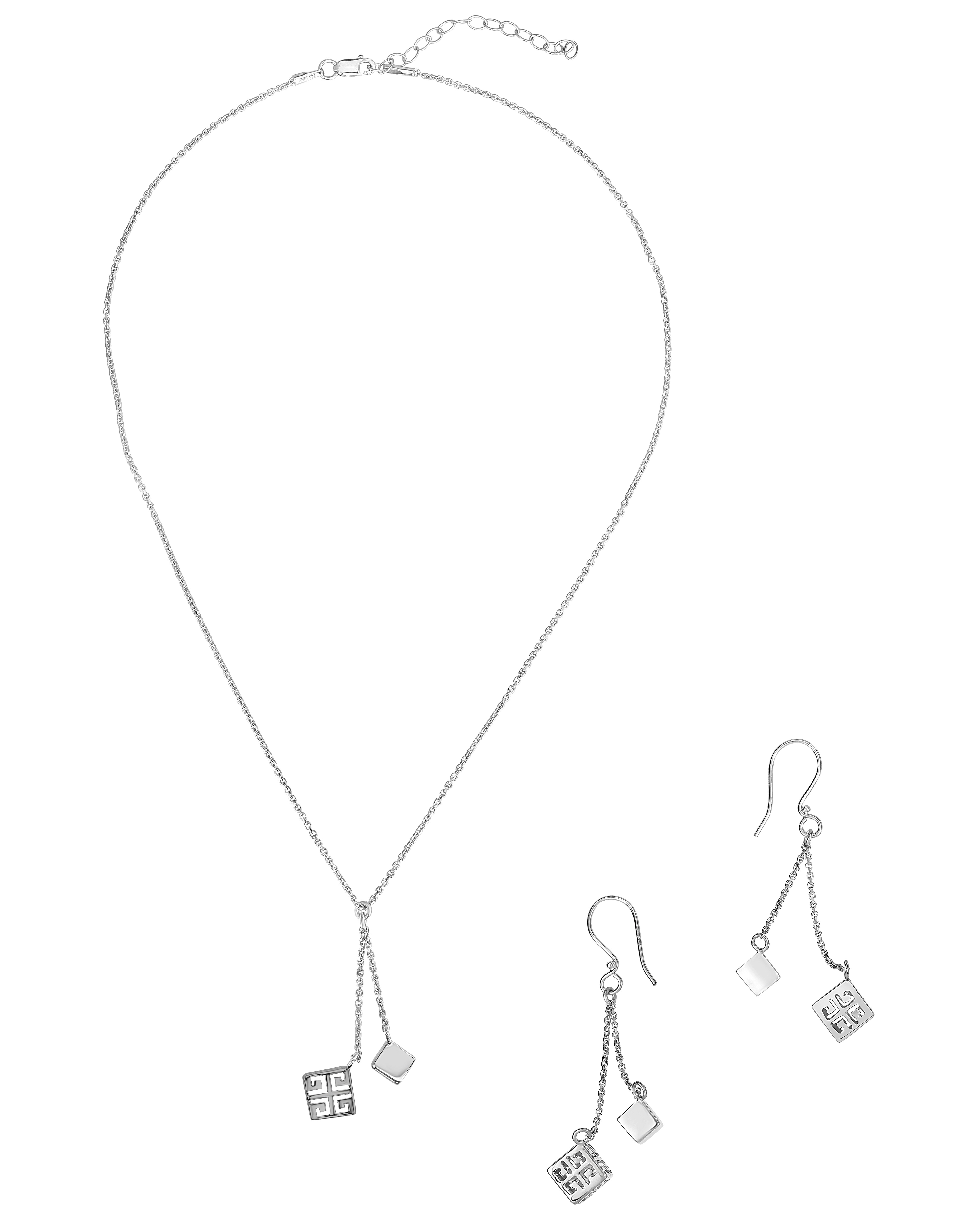 .925 Sterling Silver Expandable 16 + 2 Inch Designer Necklace and Earrings Set with Greek Designed Cube by Glad Gold