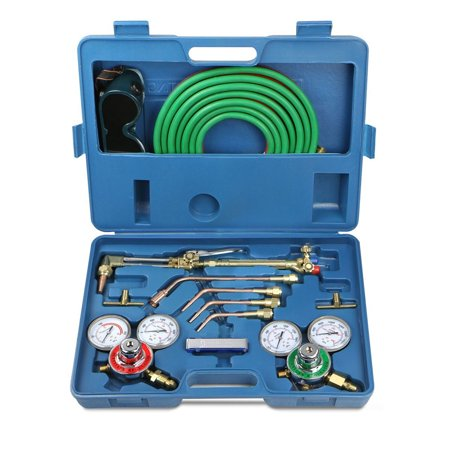 Ktaxon Gas Welding & Cutting Kit, Portable Oxygen Acetylene Regulator Welder Victor Type Torch Kit, Include No. 0, 2 ,4 Nozzles & 15' x 1/4