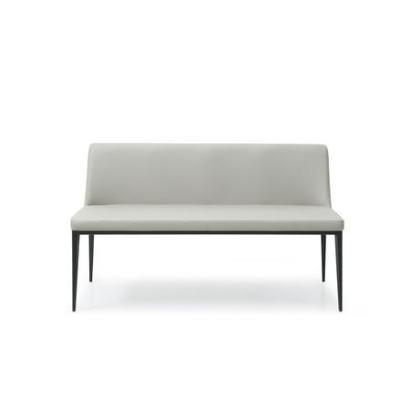 Carrie Bench Light Grey Faux Leather