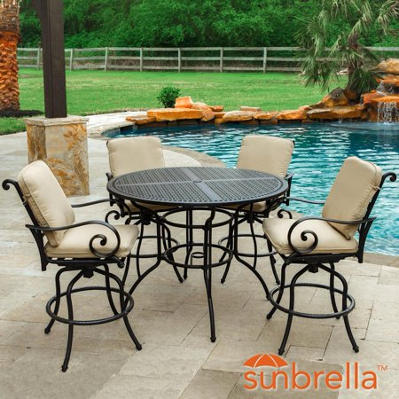 Elysian 5 Piece Aluminum Patio Bar Set W 52 Inch Round Table